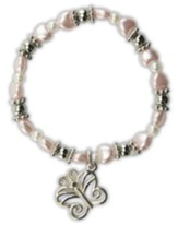Pink Pearl Heart Bracelet, Butterfly Charm, Child's