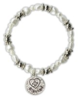 White Pearl Heart Bracelet, Blessed Charm, Child's