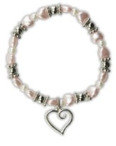 Pink Pearl Heart Bracelet with Heart Charm