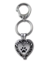 Heart with Paw Print Locket Keychain