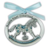 2018 Baby's First Christmas Ornament, Rocking Horse, Blue