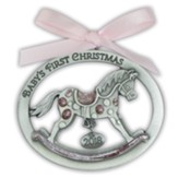 2018 Baby's First Christmas Ornament, Rocking Horse, Pink