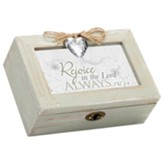 Petite Distressed Music Box with Key, Rejoice, Phil 4:4, White