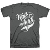 Walk By Faith Shirt, Heather Black, Large