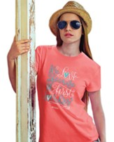 We Love Because He First Loved Us Shirt, Coral, Small