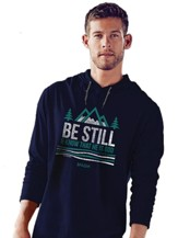 Be Still and Know, Hooded Long Sleeve Shirt, Navy, Medium