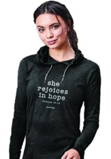 She Rejoices in Hope, Hooded Long Sleeve Shirt, Black, Small