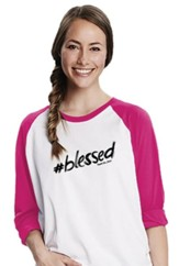#blessed, 3/4 Raglan Sleeve Shirt, White/Pink, Large
