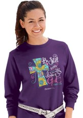 Be Still and Know That I Am God, Cross, Long Sleeve Shirt, Purple, Medium