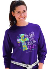 Be Still and Know That I Am God, Cross, Long Sleeve Shirt, Purple, XX-Large