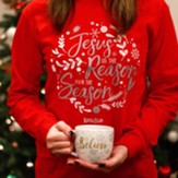 Jesus Is The Reason For the Season, Long Sleeve Shirt, Red, XX-Large