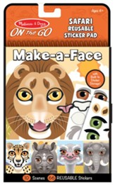 Make-a-Face Safari Reusable Sticker Pad