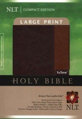 NLT Large Print Compact Bible--Soft leather-look, brown/tan