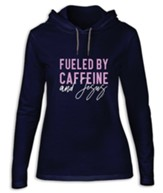 Fueled By Caffeine and Jesus, Hooded Long Sleeve Shirt, Navy Blue, Medium