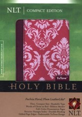 NLT Compact Bible TuTone LeatherLike fuscia floral/plum - Slightly Imperfect