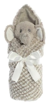 Little Pitter Pattern, Rattle and Swaddle, Elephant,   Gray