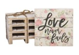 Love Never Fails Wood Coasters