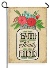 Faith Family Friends Mason Jar Flag, Small