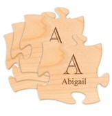 Personalized, Wood Puzzle Coaster Set, with Monogram