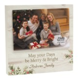 Personalized, Photo Frame with Holly, Merry and Bright, White