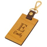 Personalized, Wooden Luggage Tag with Leather Strap, with Monogram
