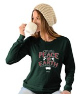Peace On Earth, Long Sleeve Shirt, Forest Green, Large