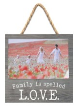 Family is Spelled L.O.V.E. Jute Hanging Photo Frame