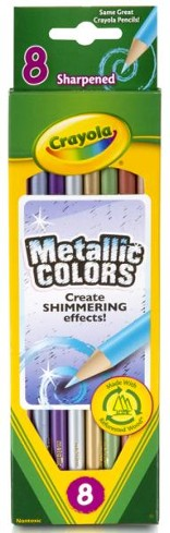 Crayola, Colored Pencils, Metallic  Colors, 8 Pieces