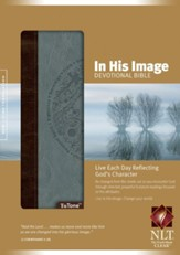 NLT In His Image Devotional Bible, Soft Leather-Look, Brown/Dusty Blue-Slightly Imperfect
