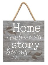 Home Is Where Our Story Begins Jute Hanging Decor