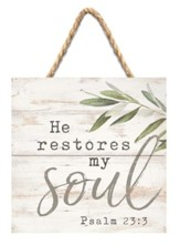 He Restores My Soul Jute Hanging Decor