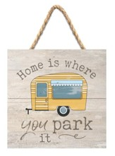Home Is Where Jute Hanging Sign