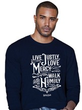 Live Justly, Long Sleeve Shirt, Navy Blue, X-Large