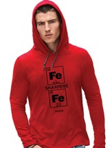 Iron Sharpens Iron, Hooded Long Sleeve Shirt, Red, X-Large