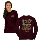 Thankful, Grateful, Blessed, Long Sleeve Shirt, Maroon, Medium