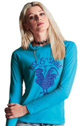 Rise and Shine, Hooded Long Sleeve Shirt, Caribbean Blue, XX-Large
