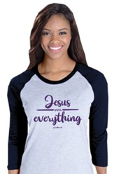 Jesus Over Everything, 3/4 Raglan Sleeve Shirt, Sport Grey/Navy, Medium