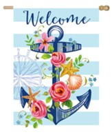 Welcome Floral Anchor Flag, Large