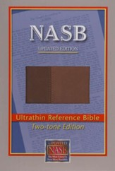 NASB Ultrathin Reference Bible--imitation leather, brown/light brown