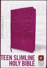 NLT Teen Slimline Bible 1 Cor 13 Hot Pink, Leatherlike - Imperfectly Imprinted Bibles