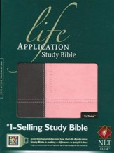 NLT Life Application Study Bible 2nd Edition, TuTone Dark  Brown/Pink Indexed Leatherlike - Slightly Imperfect