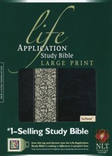 NLT Life Application Study Bible 2nd Edition, Large Print,  TuTone Black/Ivory Flower LeatherLike