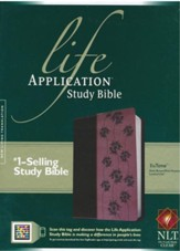 NLT Life Application Study Bible 2nd Edition, TuTone Dark  Brown / Pink Flowers Imitation Leather - Slightly Imperfect