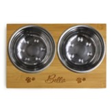 Personalized, Dog Dish, with Name And Pawprints, Wood