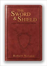 The Sword & Shield: A 40-Day Devotional Journey For Men Genuine Leather, Brown