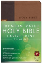 NLT Premium Value Large-Print Slimline Bible--soft leather-look, brown/tan