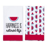 Happiness Is Retired Life Tea Towels, Set of 2