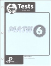 BJU Press Math Grade 6 Test Pack Answer Key (Third Edition)