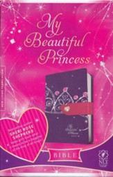 NLT My Beautiful Princess Bible, TuTone Leatherlike Purple Crown/Pink with Heart magnetic closure