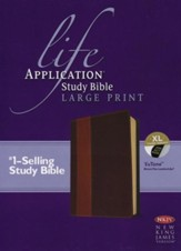 NKJV Life Application Study Bible 2nd Edition, Large Print,  Brown and Tan Imitation Leather, Indexed - Imperfectly  Imprinted Bibles
